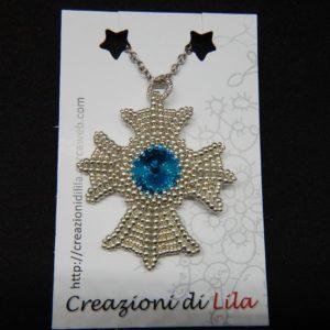 Croce Normanna argento con swarovski azzurro.